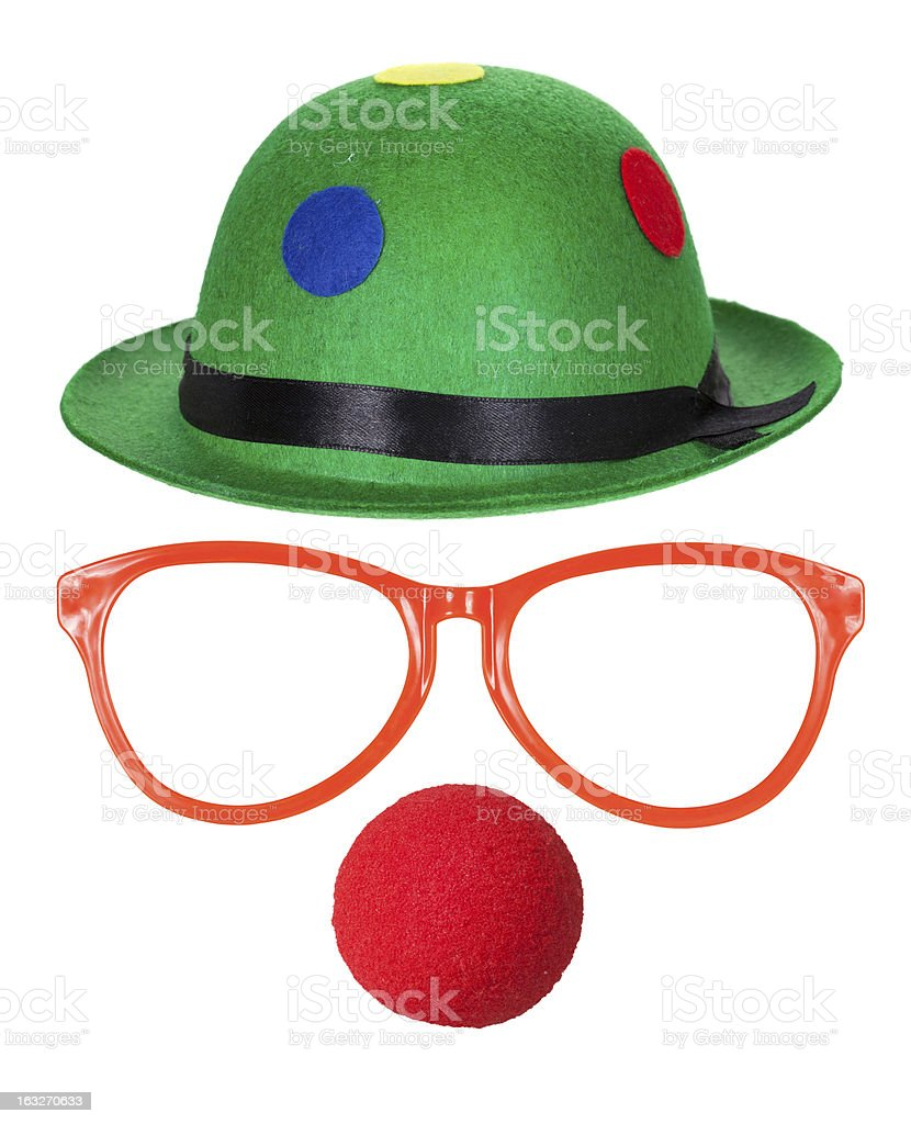 Clown hat with glasses and red nose stock photo