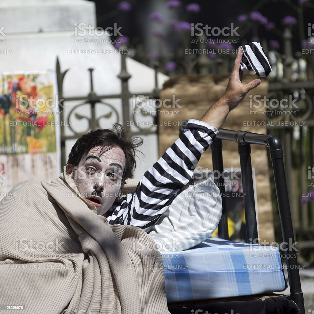 Clown in a bed. royalty-free stock photo
