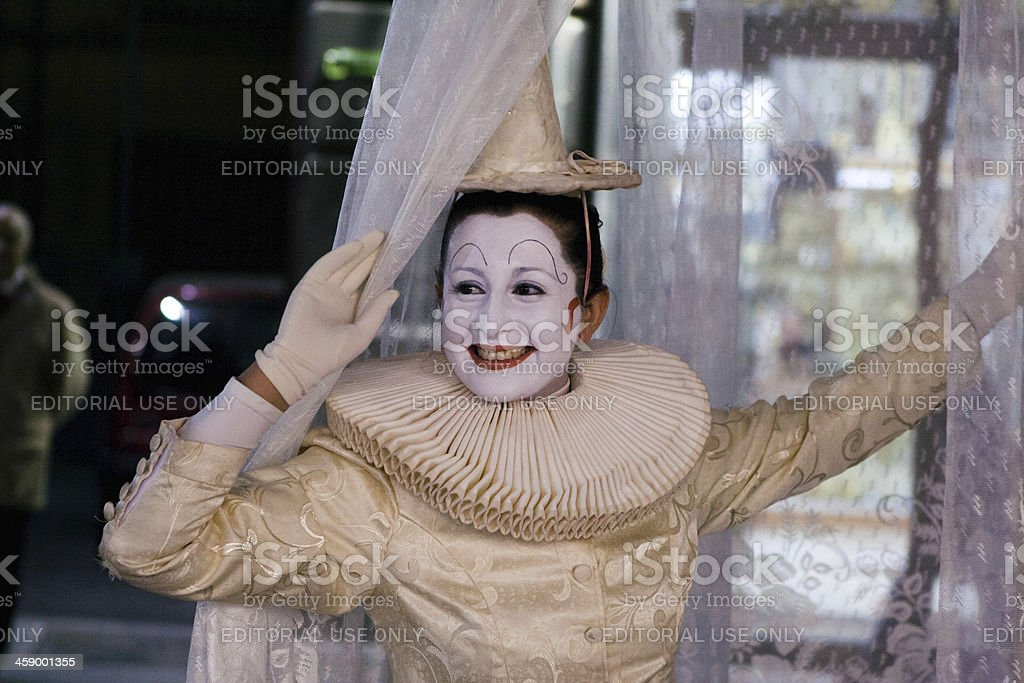 Clown in a Street of Naples, Italy royalty-free stock photo
