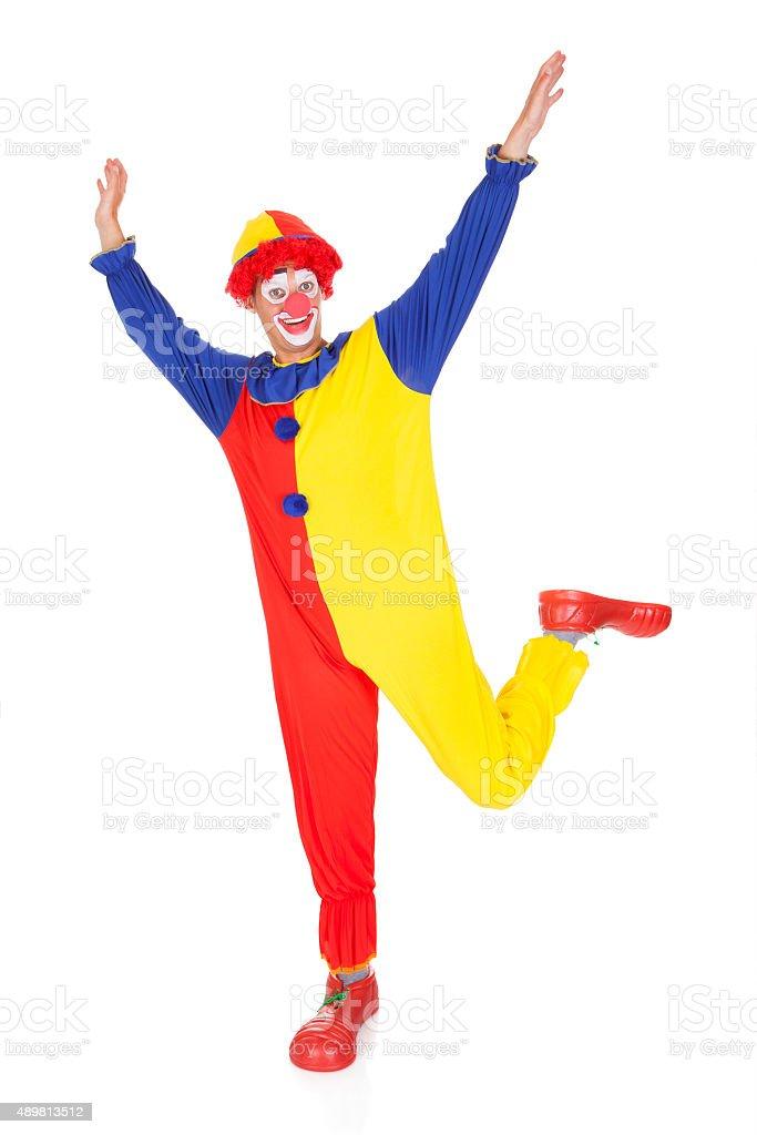 Clown Jumping In Joy stock photo