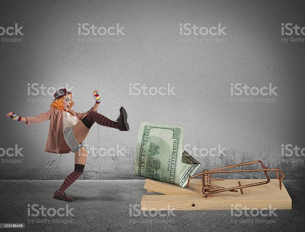 Clown money trap stock photo