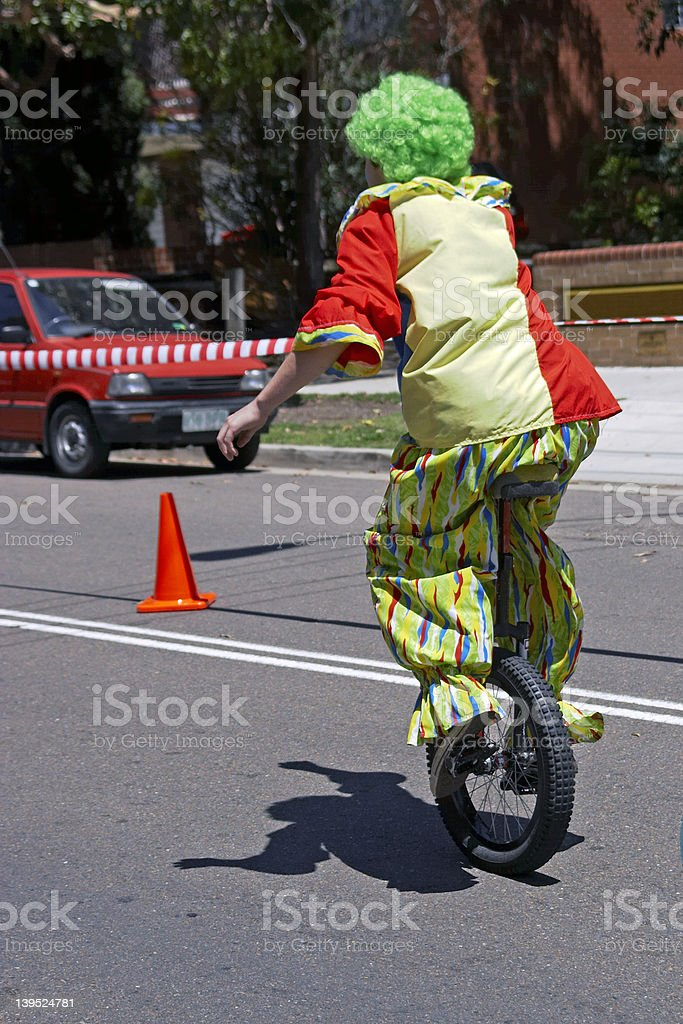 Clown on a Unicycle royalty-free stock photo