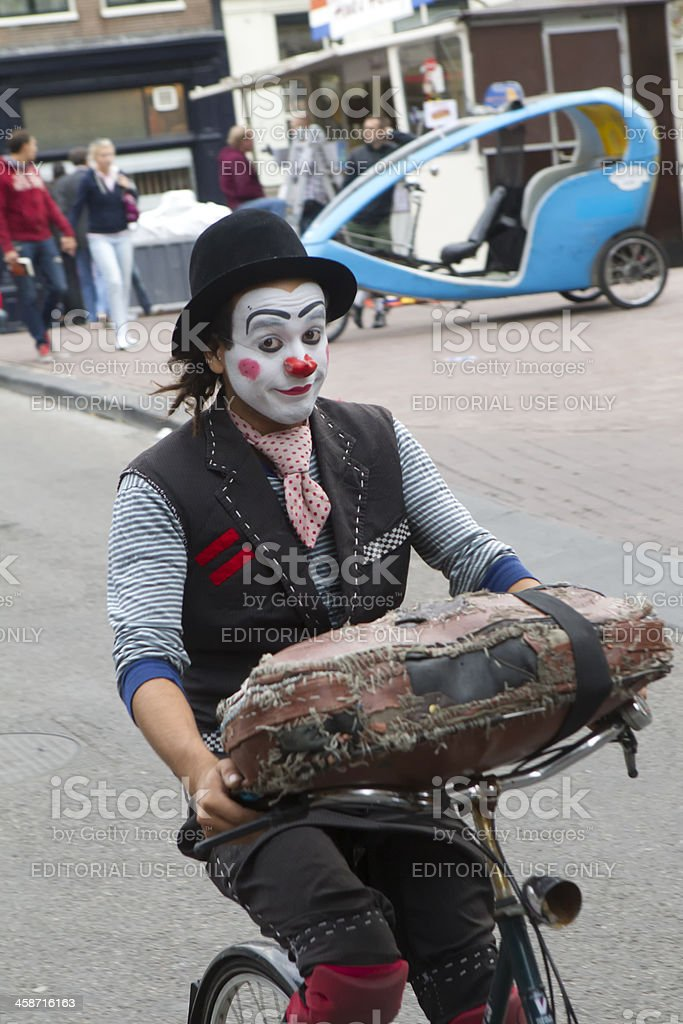 clown on bicycle royalty-free stock photo