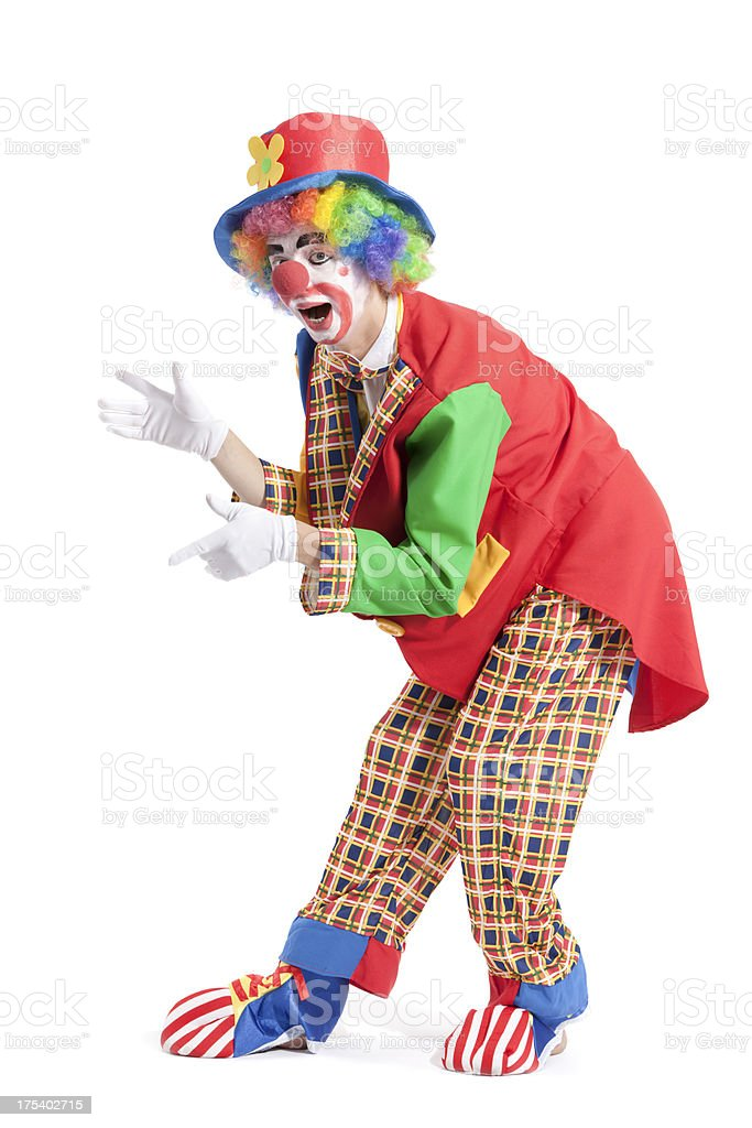 Clown on white background stock photo