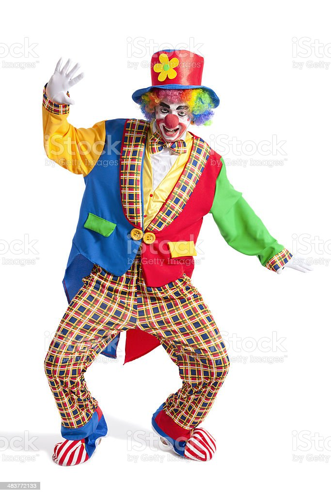 Clown on white background stock photo