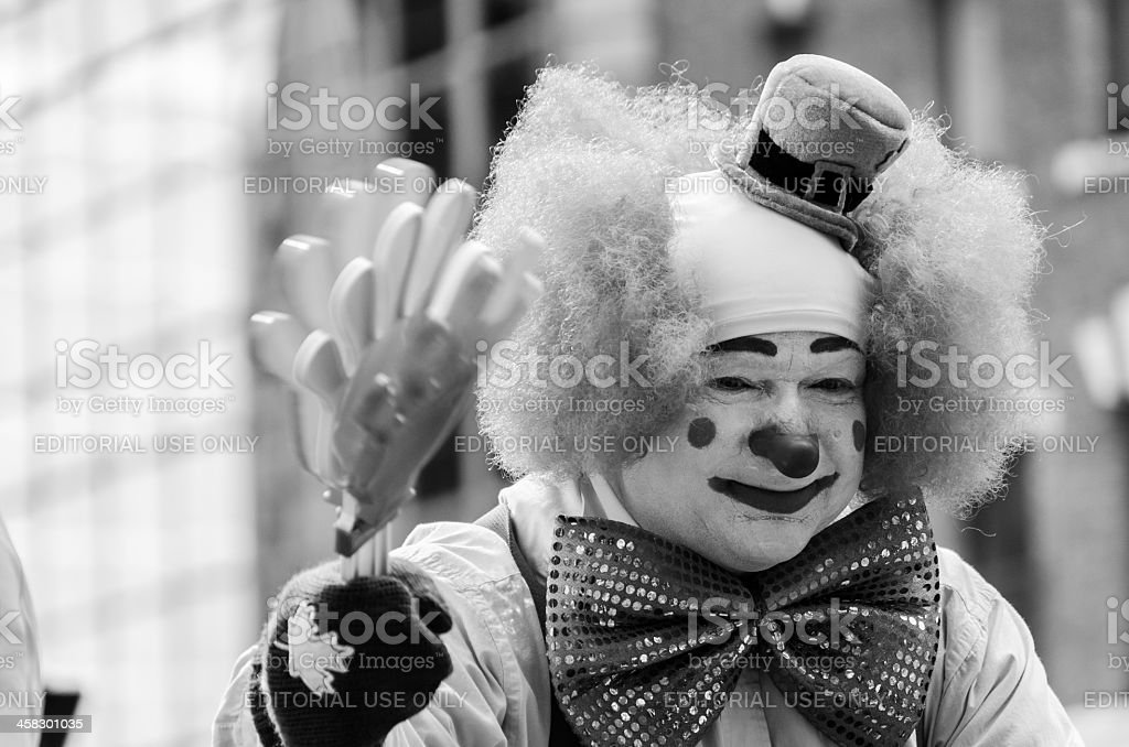 Clown Waving during Ottawa's St-Patricks Day Parade (2013) royalty-free stock photo