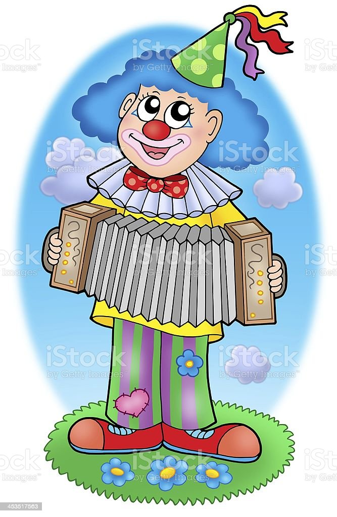 Clown with accordion on  meadow royalty-free stock photo