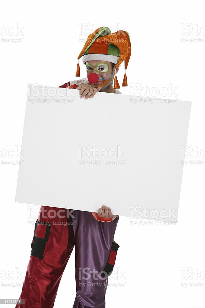 Clown With Banner royalty-free stock photo