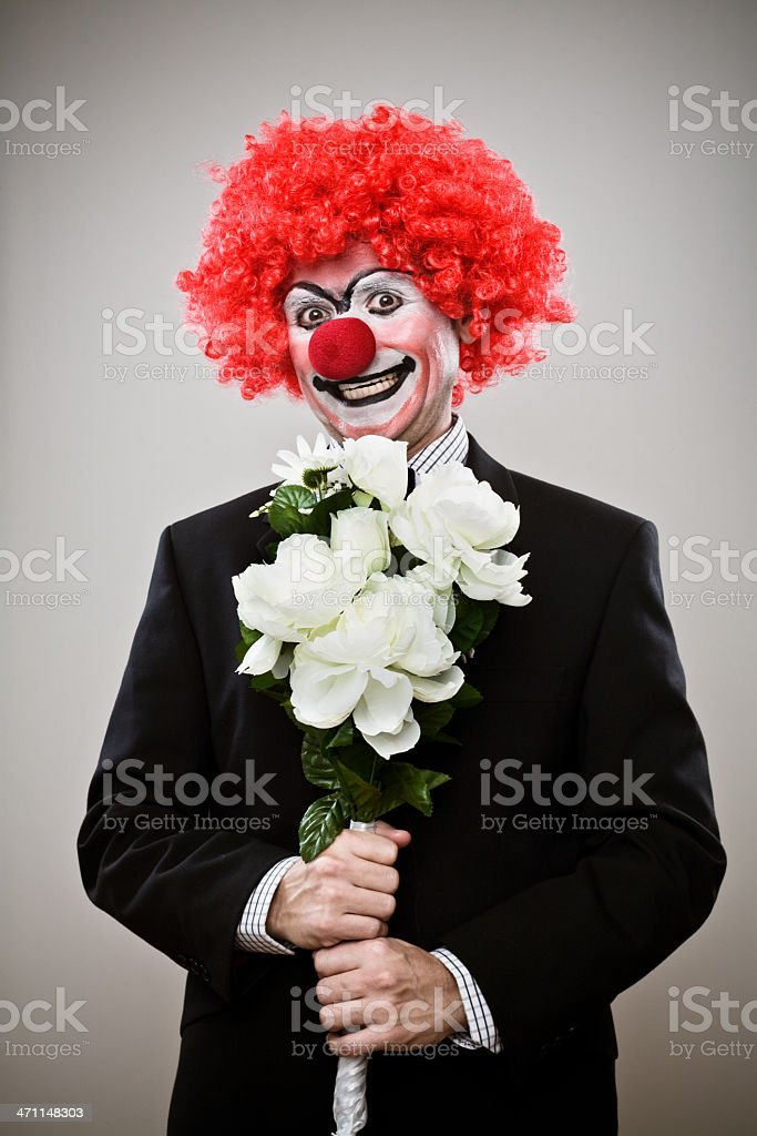 Clown With Bouquet royalty-free stock photo