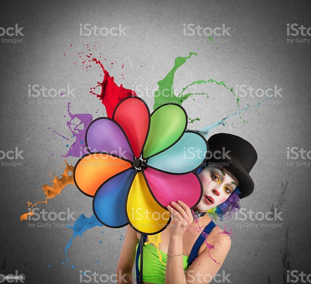 Clown with rainbow helix stock photo