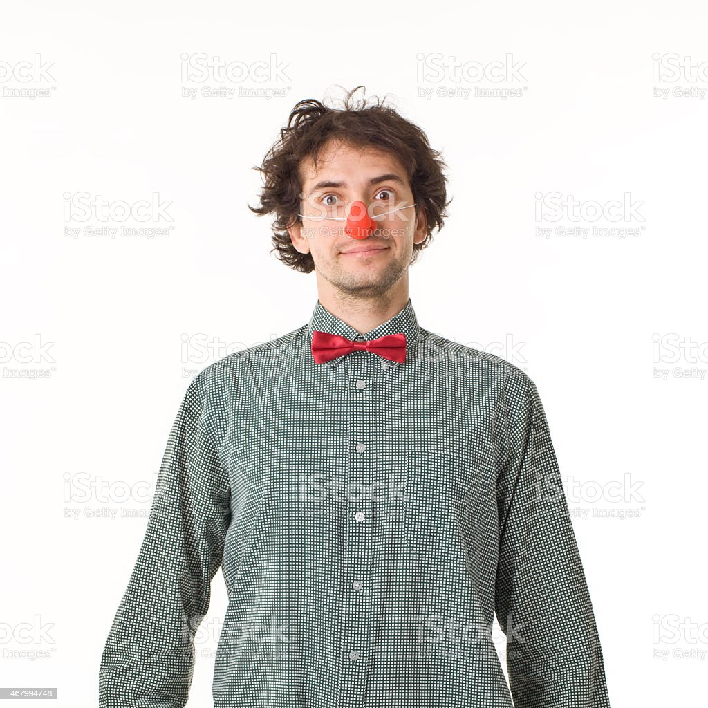 Clown With Red Nose. stock photo