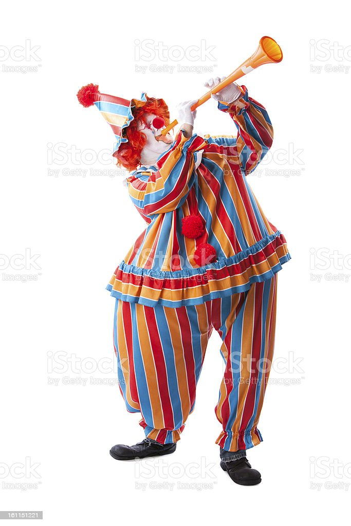Clowns: Adult Male Blowing Musical Horn Noisy Full Length royalty-free stock photo