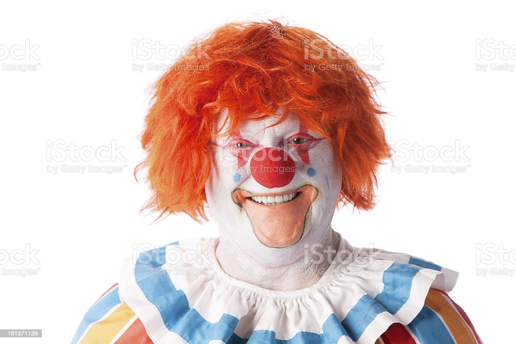 Clowns: Adult Male Smiling Orange Hair Closeup Headshot royalty-free stock photo