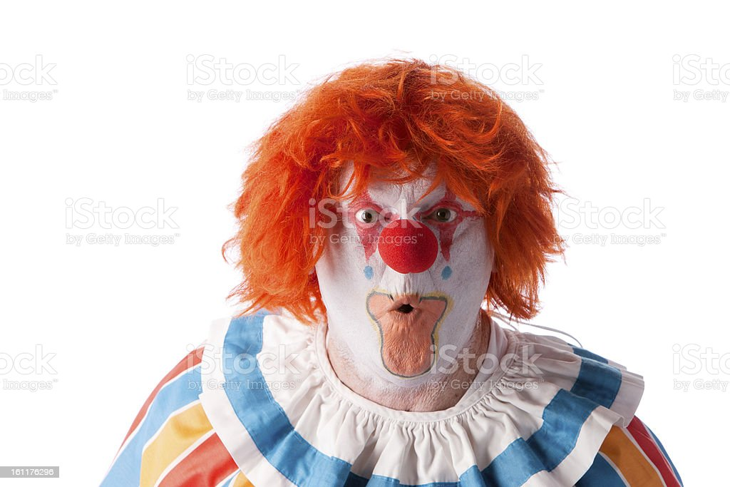 Clowns: Adult Male Surprise Orange Hair Closeup Headshot royalty-free stock photo
