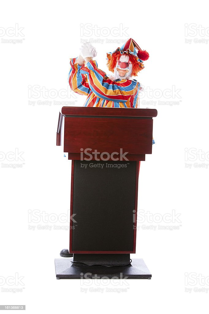 Clowns: Adult Speaker Speech Podium Politics Candidate Winner royalty-free stock photo