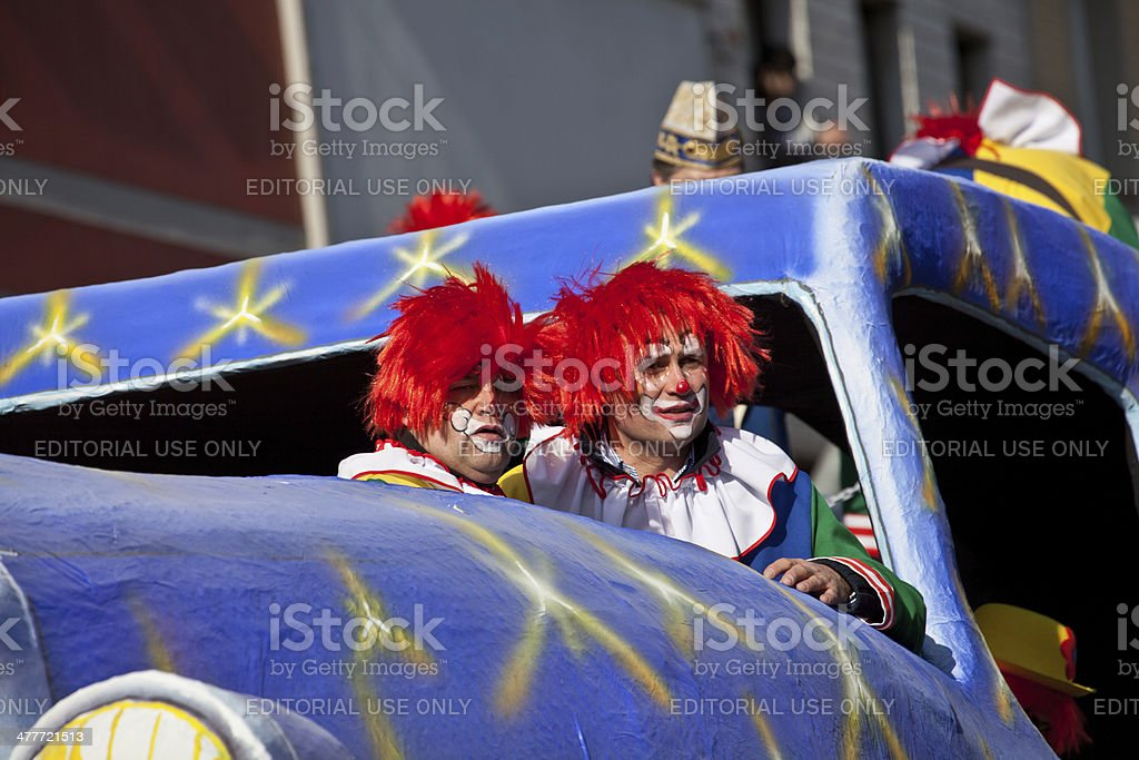 clowns at carnival parade stock photo