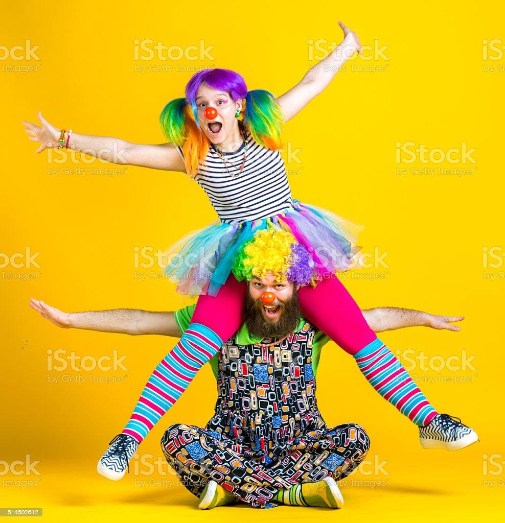 Clowns Having Fun stock photo