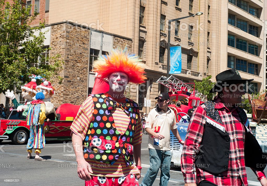 Clowns in the street royalty-free stock photo