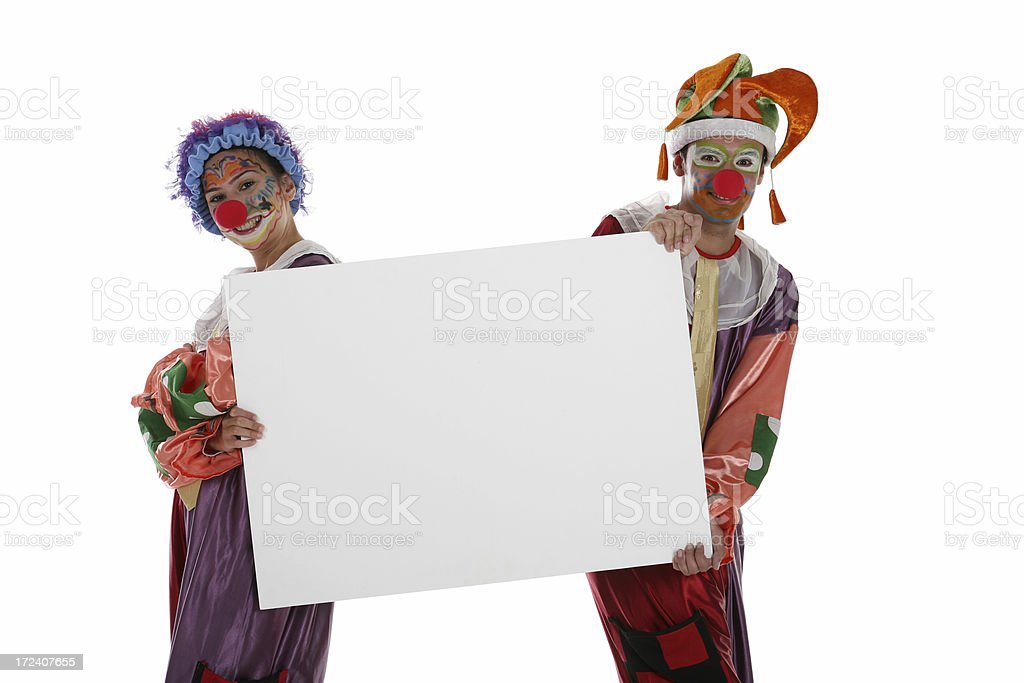 clowns with banner royalty-free stock photo