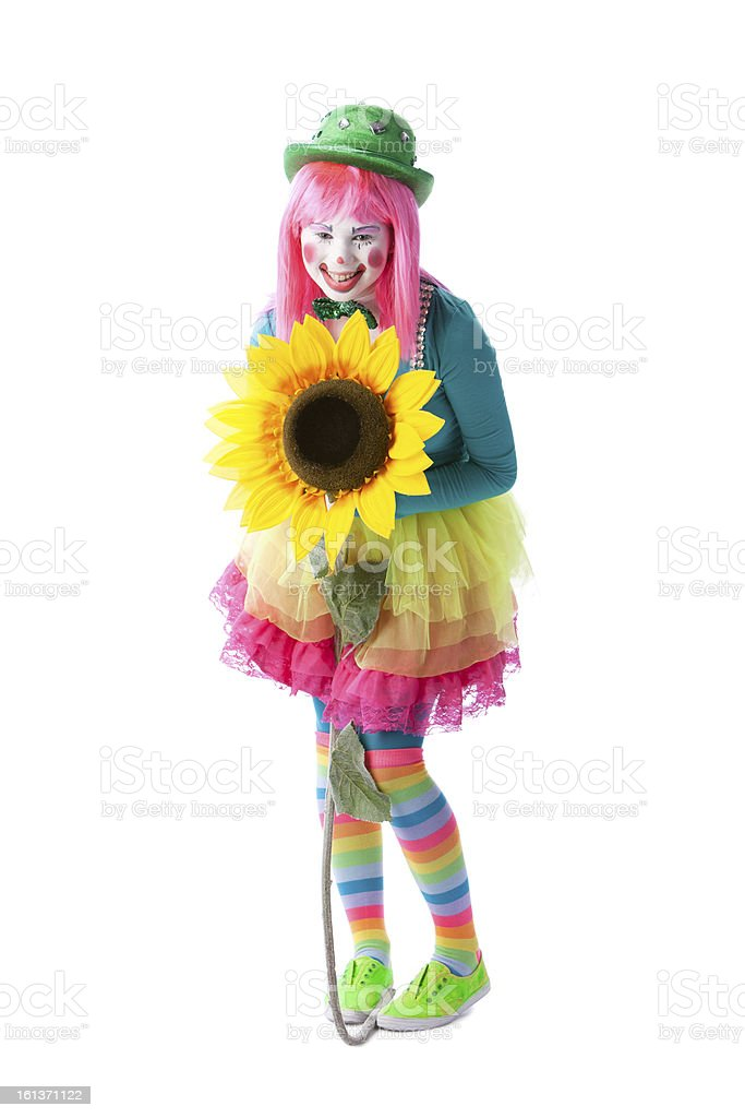 Clowns: Young Teenage Girl Mime Holding Big Flower Full Length royalty-free stock photo