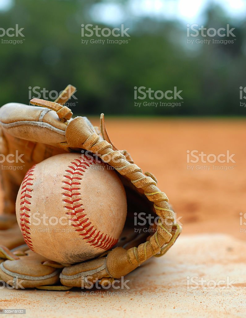 Clse up view of Old Baseball Mitt and Ball stock photo