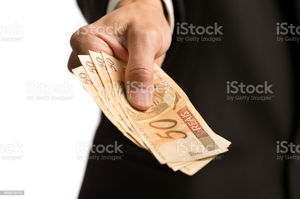Clse-up of Hand with a Stack of European Currency, the Euros stock photo