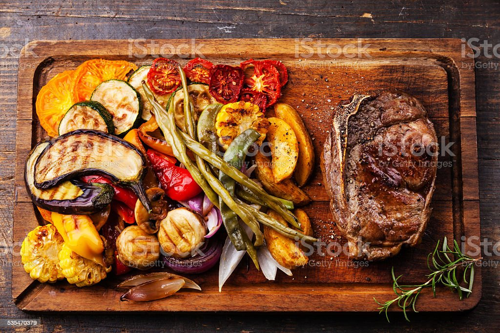Club Beef steak and Grilled vegetables stock photo