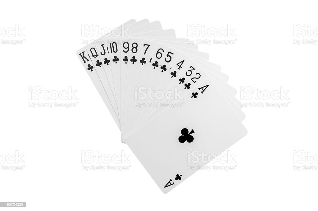 Club playing cards plus stock photo