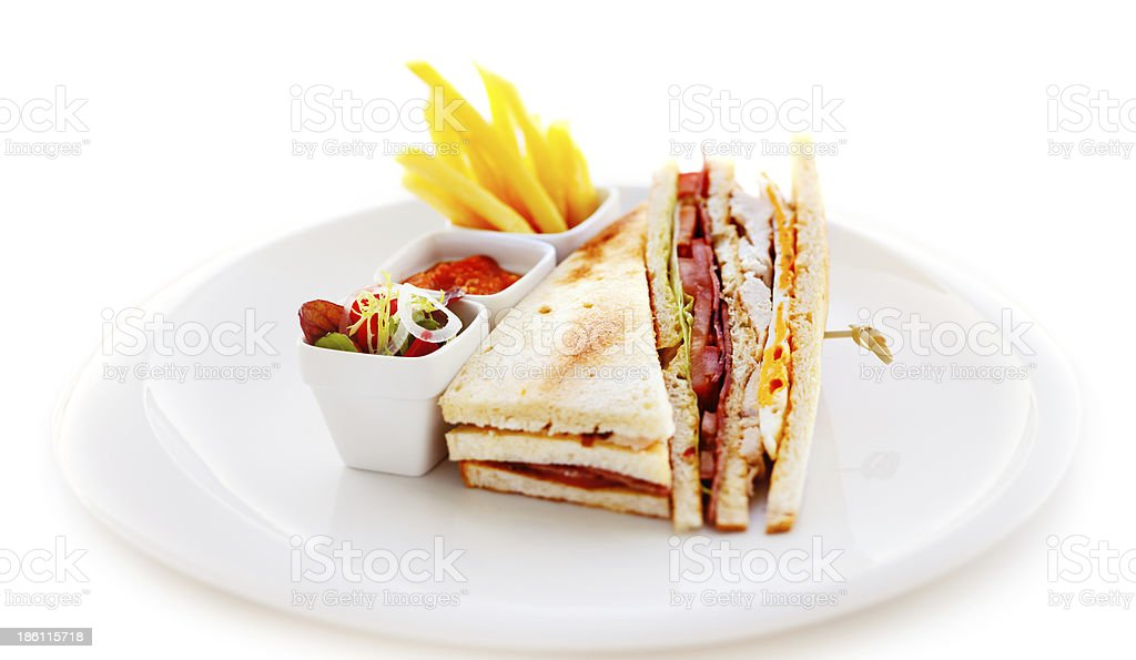 Club sandwich is the most common item on every menu stock photo