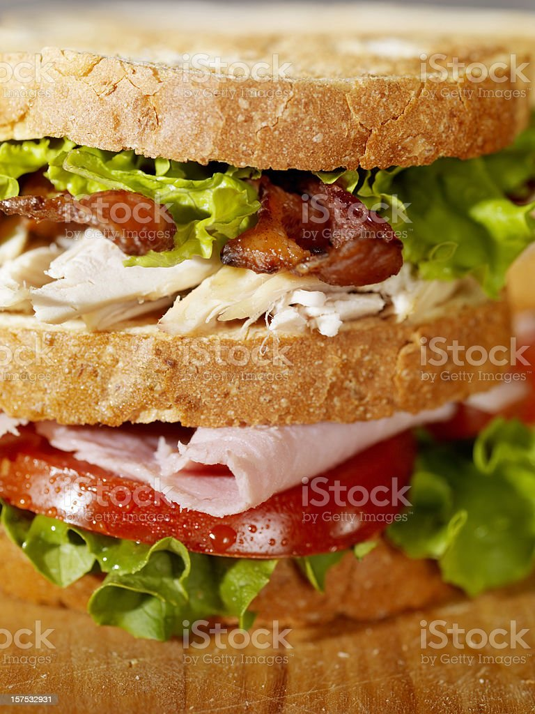 Club Sandwich on a Cutting Board royalty-free stock photo
