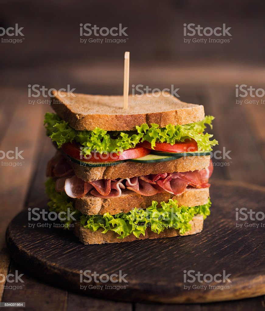 Club sandwich on the table stock photo