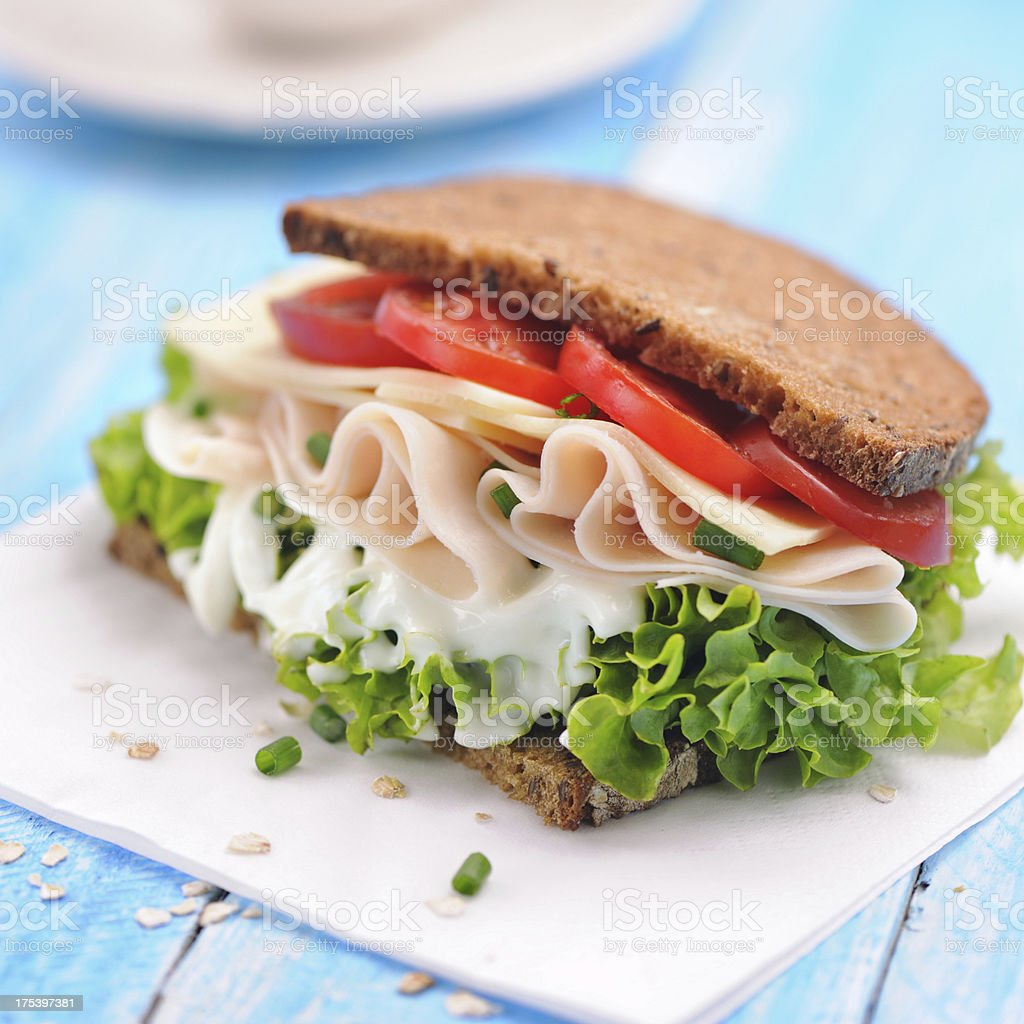 Club sandwich with chicken ham and whole wheat bread royalty-free stock photo