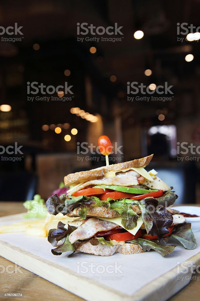 Club sandwich with on wood background stock photo