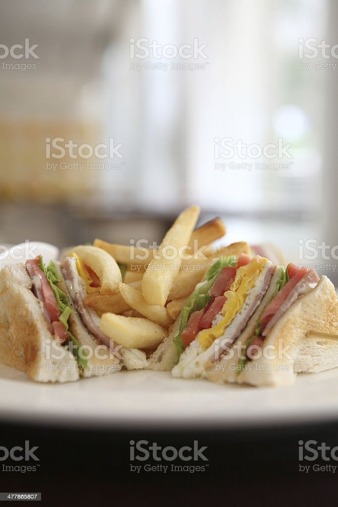 Club sandwich with on wood background royalty-free stock photo