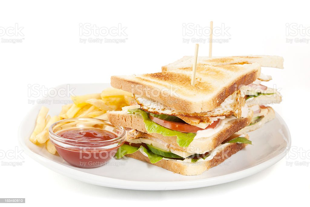 club sandwitch and fries royalty-free stock photo