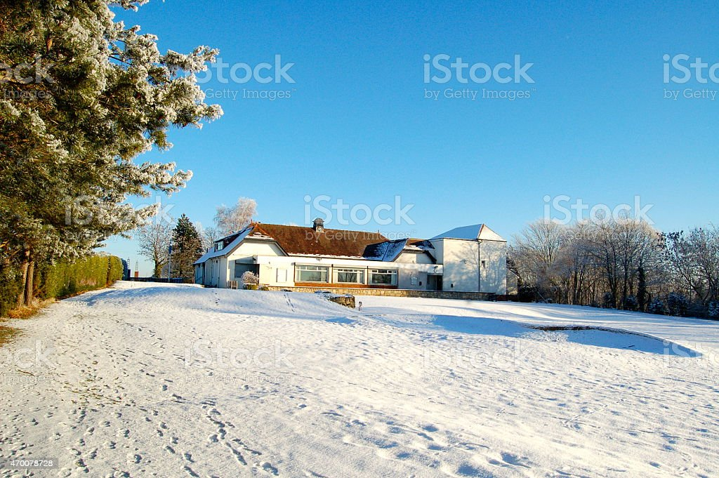 Clubhouse at Bellshill golf course stock photo