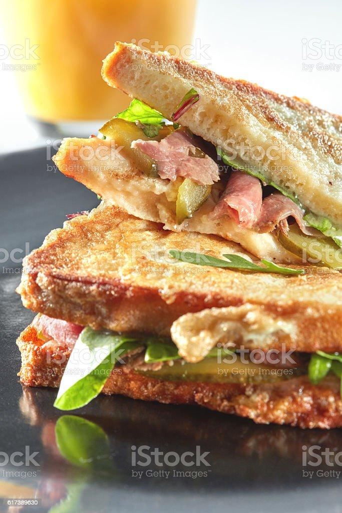Clubhouse sandwich closeup stock photo