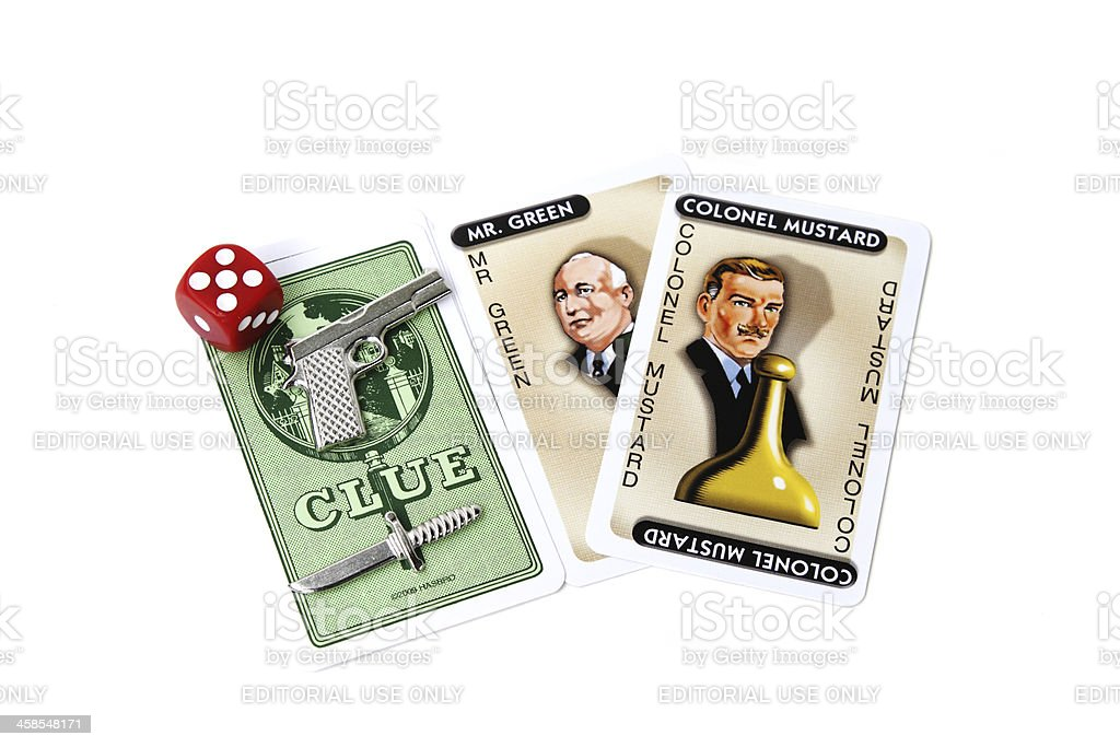 Clue game pieces and cards stock photo