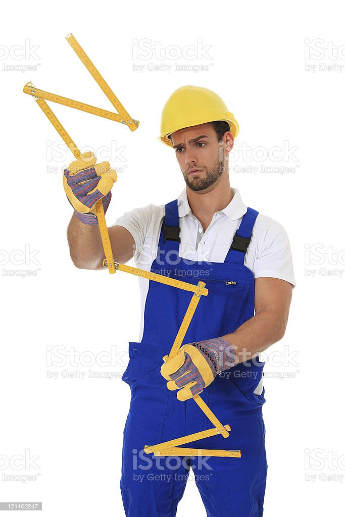 Clueless construction worker stock photo