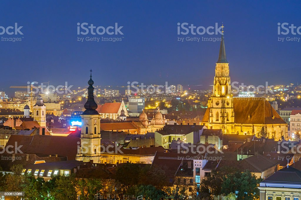 Cluj Napoca Romania Downtown Cityscape at Night stock photo