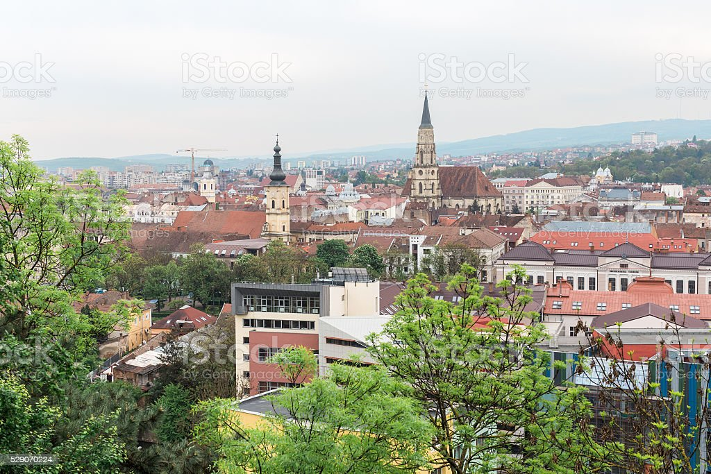 Cluj Napoca upperview, east europe, romania stock photo