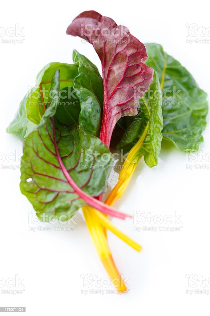 Clump of fresh rainbow Swiss chard stock photo