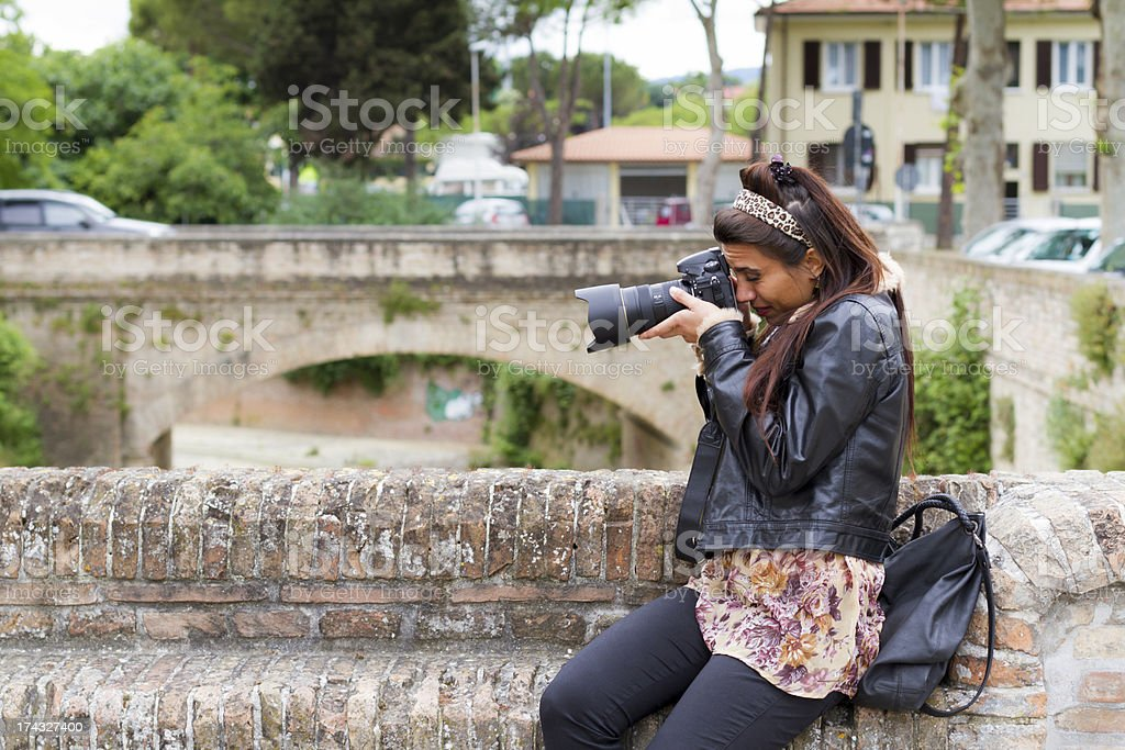 clumsy Female Photographer royalty-free stock photo