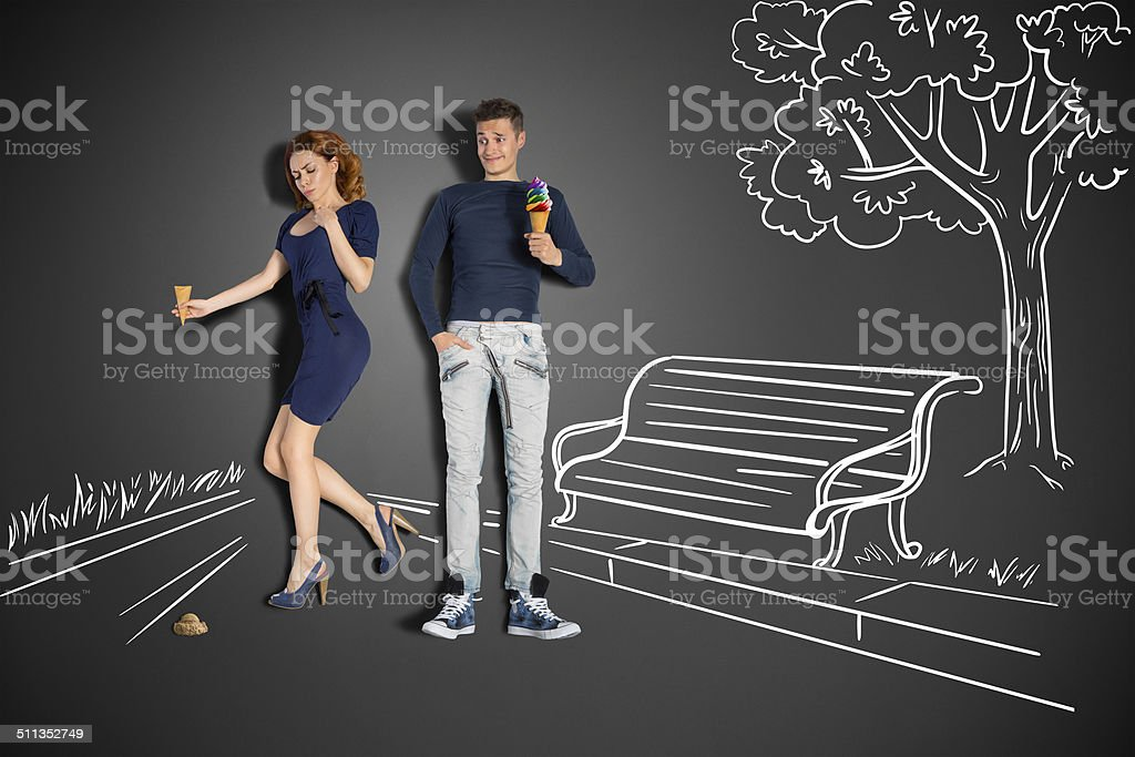 Clumsy girlfriend. stock photo