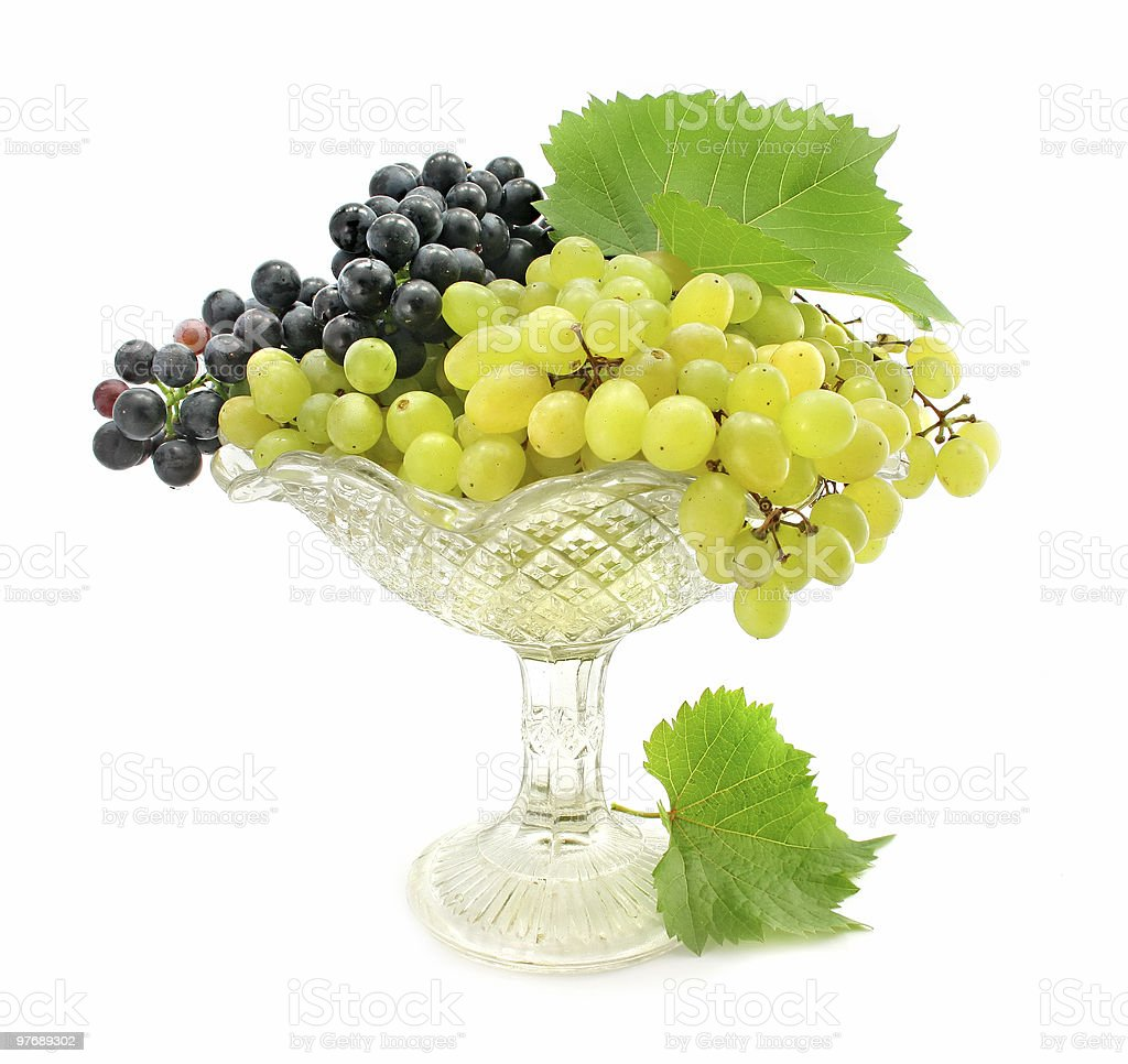cluster green and blue grape isolated on white royalty-free stock photo