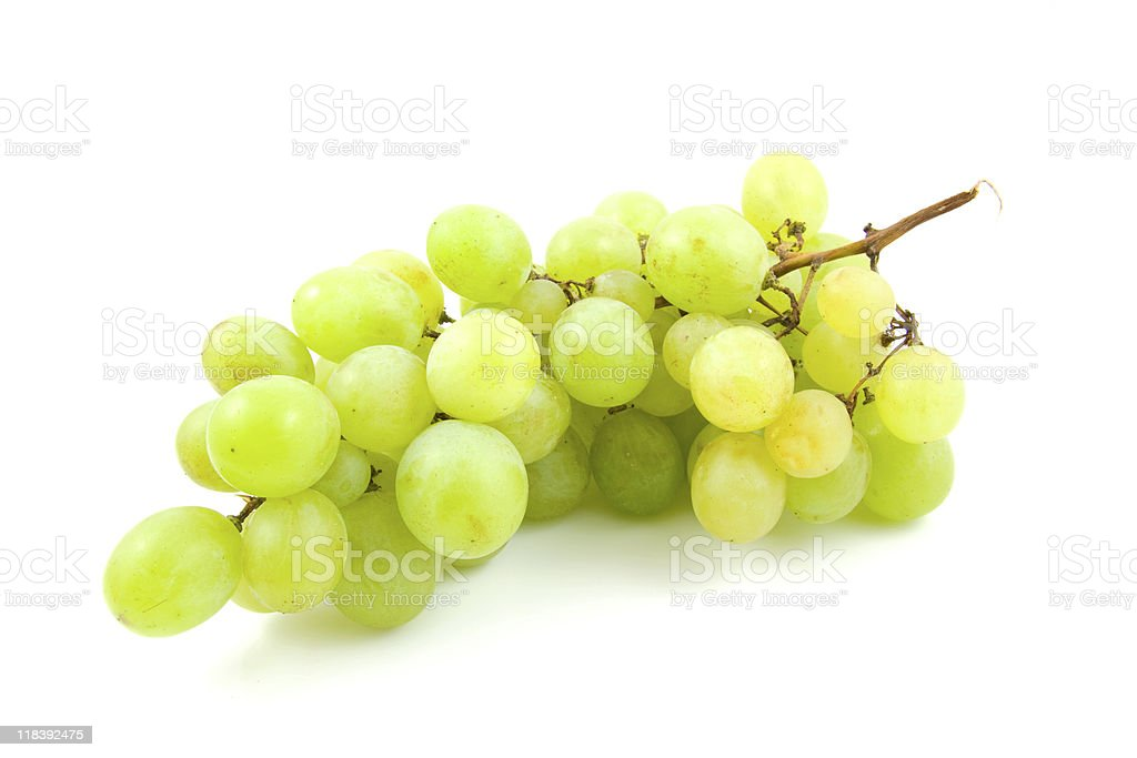 cluster of fresh white grapes stock photo