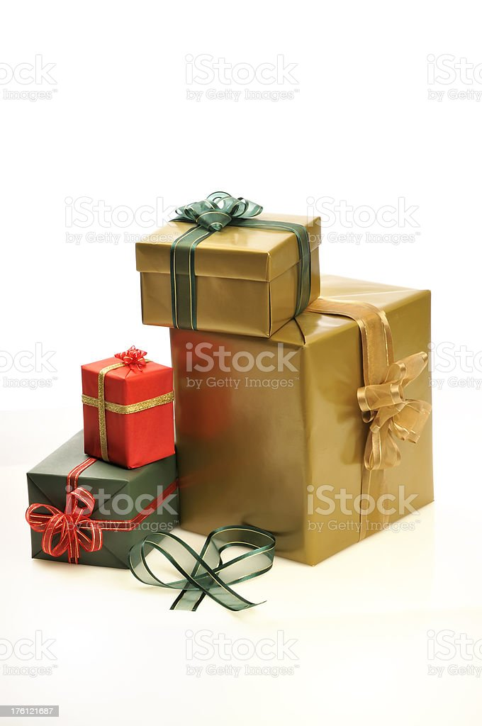 Cluster of gift boxes on white royalty-free stock photo