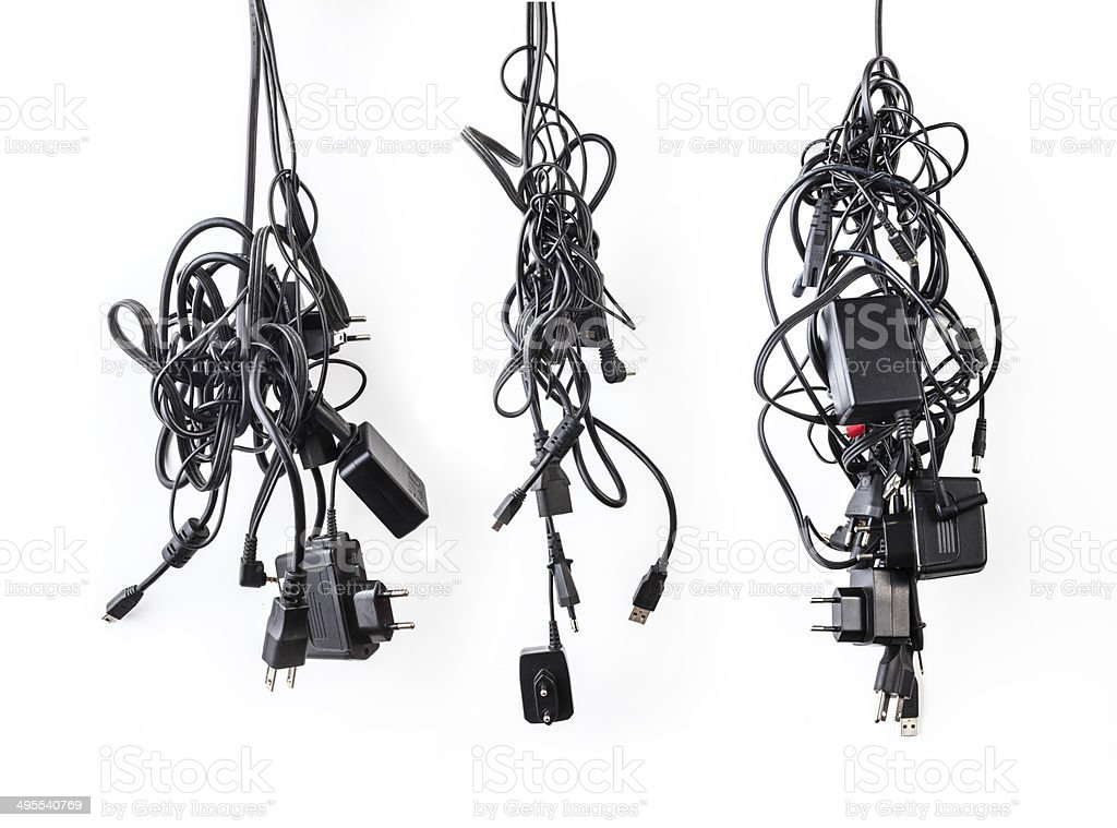 Cluster of messy chaotic power cables royalty-free stock photo