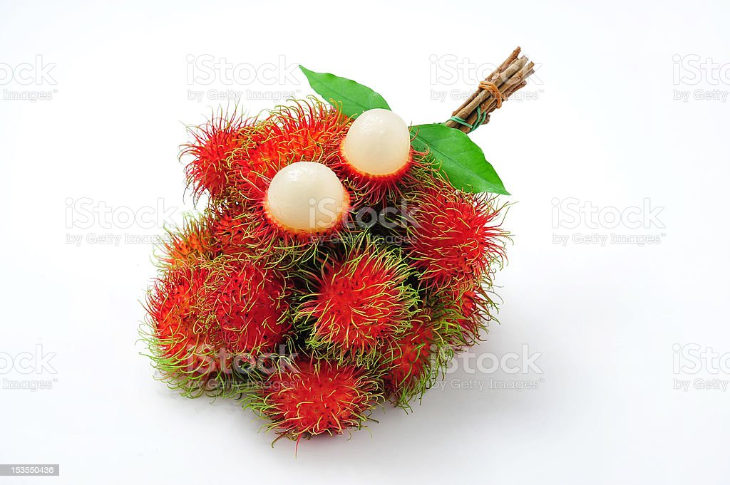 cluster of rambutan on isolated background royalty-free stock photo