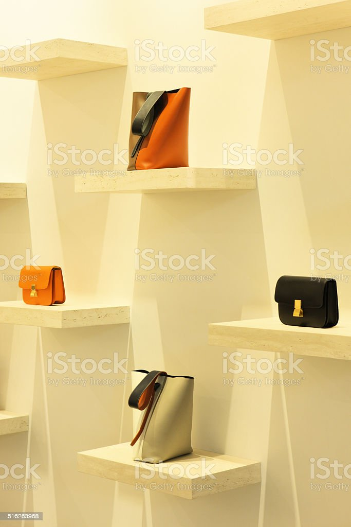 Clutch Bag Purse Handbag Retail Display stock photo